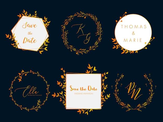 結婚式招待状フローラルリースミニマルデザイン