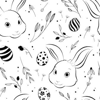 イースターのウサギとイースターエッグのシームレスパターン