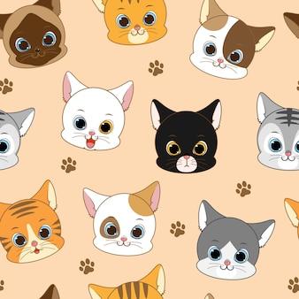 かわいい笑顔猫頭シームレスパターン