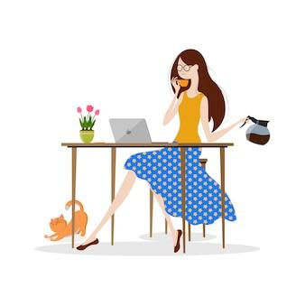 Молодая женщина пьет кофе и работает на ноутбуке, векторная иллюстрация