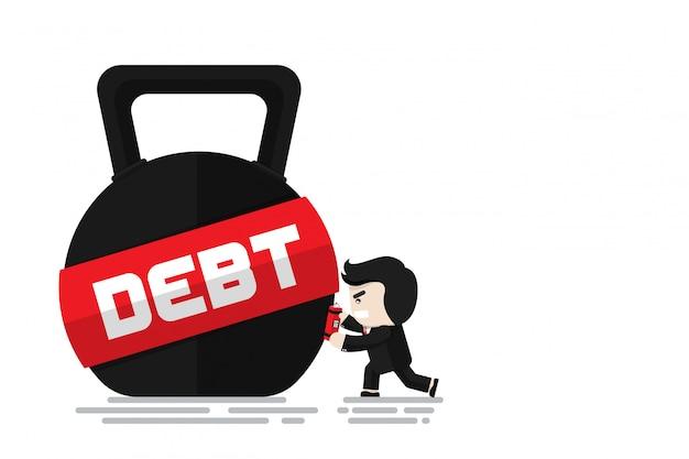 ビジネスマンは、負債、フラットなデザインキャラクター、イラスト要素、負債概念を破るための単語の負債とケトルベルにダイナマイト爆弾を設定します