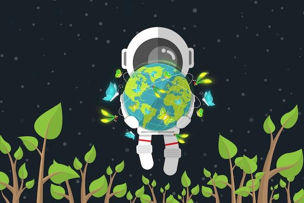 フラットなデザイン、宇宙飛行士は、宇宙、環境保全の概念、ベクトル図、インフォグラフィック要素の植物の間で浮かんでいる間蝶と地球を保持しています