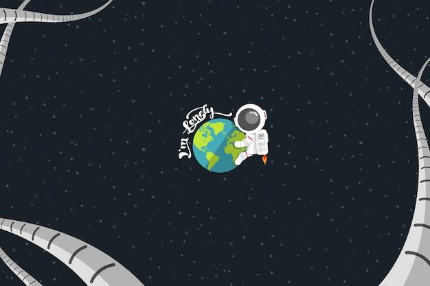 Плоский дизайн, астронавт объятия земли со словом
