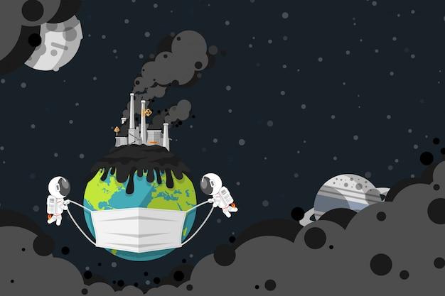 フラットなデザイン、石炭発電所の産業工場の煙突が付いている地球