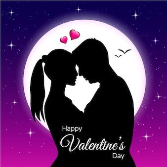 月の背景を持つバレンタインデーのカップル