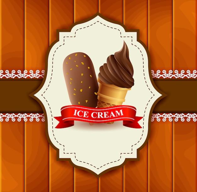 Этикетка мороженое на деревянном фоне