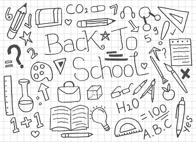 学校に戻るいたずら書きのセット