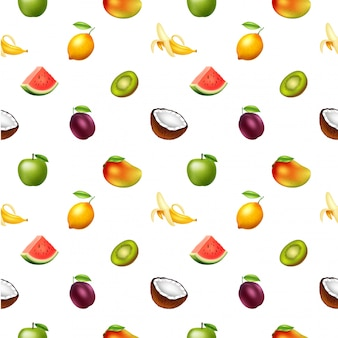 フルーツ、ベクトル図とのシームレスなパターン