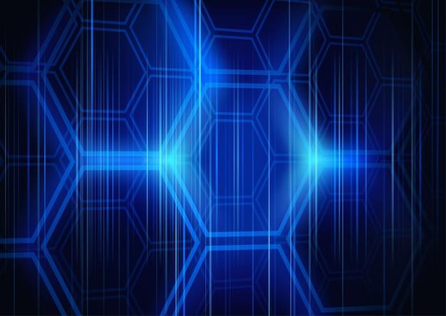 Абстрактный фон с освещаемым шестиугольником