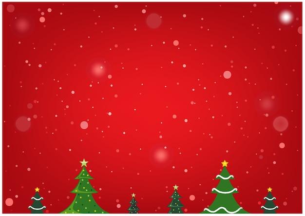 クリスマスツリーと雪と赤のクリスマスの背景