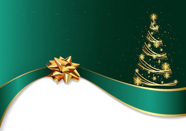 黄金の弓と木と緑色のクリスマスの背景