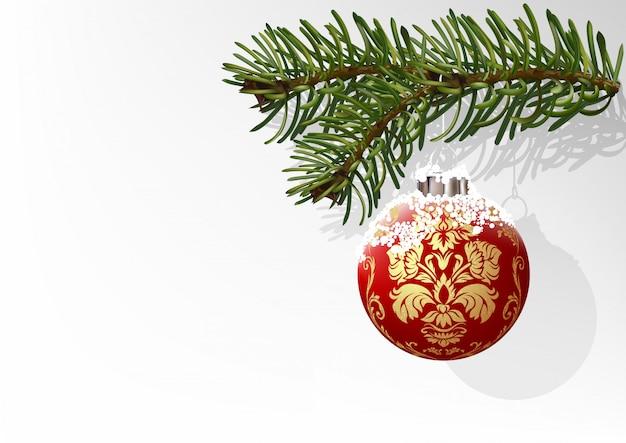 赤いクリスマスボールと針葉樹の分岐