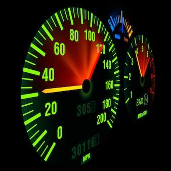スピードメーター、照光式ダッシュボードパネル