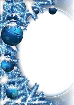 Рождественский фон с шарами и ветвями