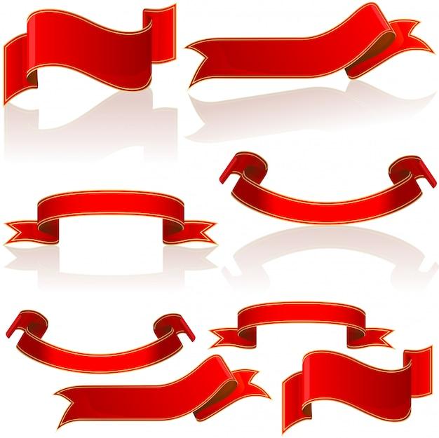 赤い光沢のあるバナーと巻物