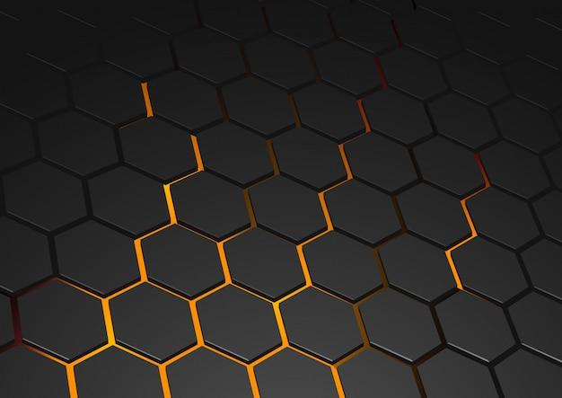 輝く六角形の背景