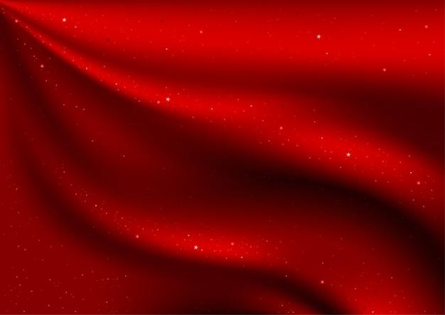 赤いベルベットとキラキラ星の背景