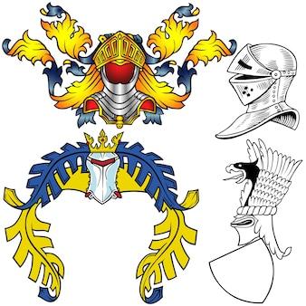 紋章のヘルメットのデジタルコラージュ