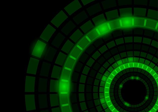 Абстрактный фон с горящими зелеными сегментированными кругами