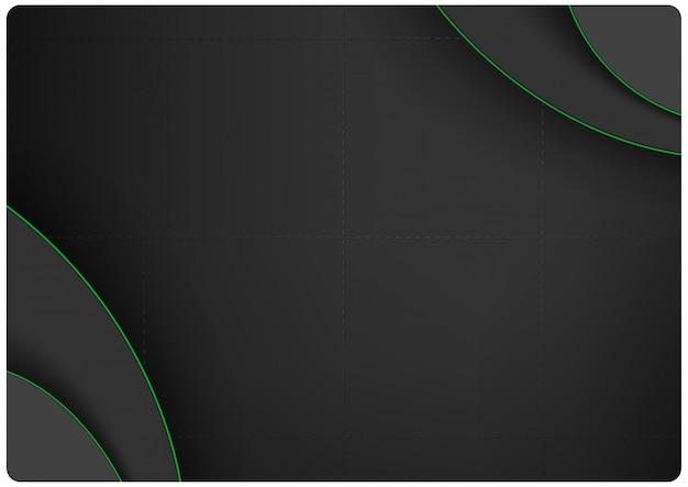 レイヤーと緑のエッジを持つ暗い背景