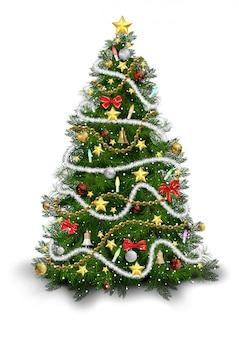 Рождественская елка с красочными орнаментами