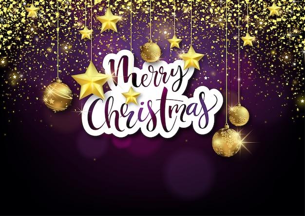 黄金の装飾とメリークリスマスのグリーティングカード