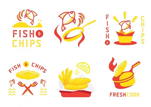 Дизайн и иллюстрация значка с рыбой и чипсами