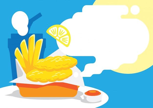 Рыба и корабль фон с лимоном