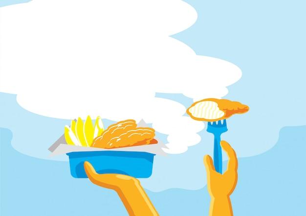 Рыба и чипсы, готовые к употреблению фон