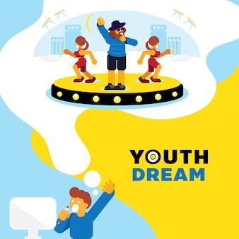 ラッパーの夢の若者の夢の背景