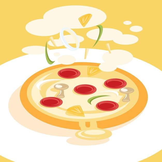 Иллюстрация свежей кулинарной пиццы