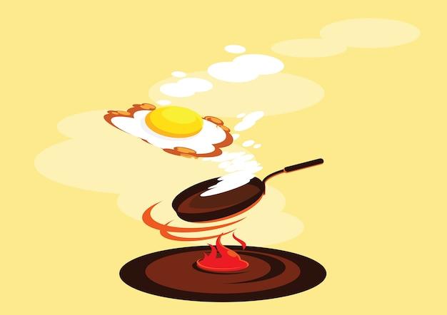 スモーク揚げた卵の新鮮な料理のイラスト