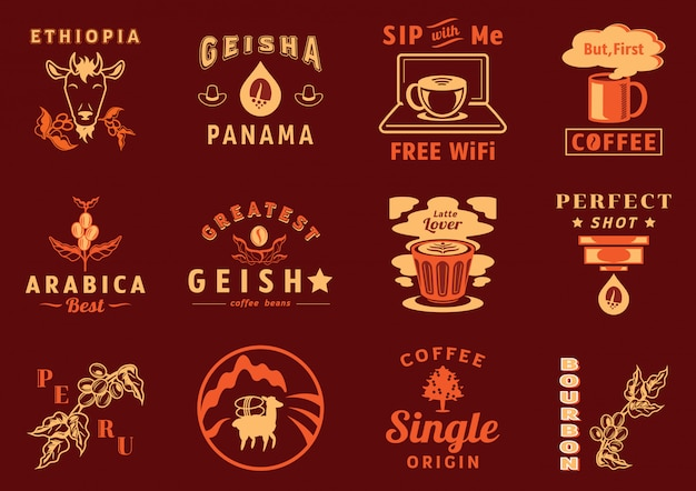 コーヒーカフェのグラフィック要素