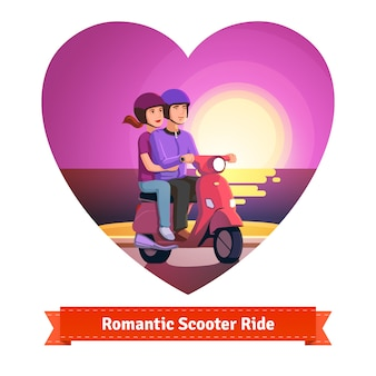 ロマンチックな乗り物を持つスクーターのカップル