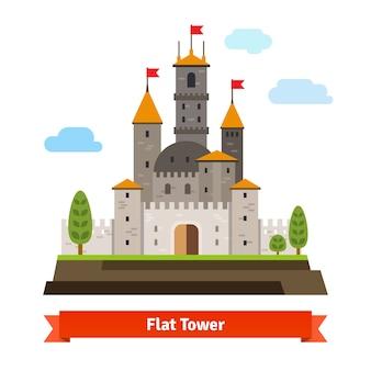 Средневековая крепость с башнями