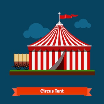Открытая цирковая полосатая палатка с вагонным колесом