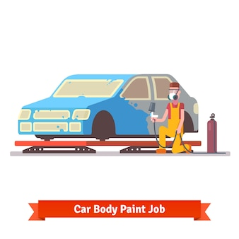 車体塗装仕事