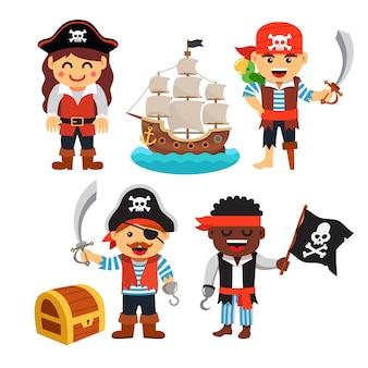 Пиратские дети: сундук с сокровищами, черный флаг, корабль