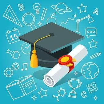 大学生の帽子のモルタルボードと卒業証書