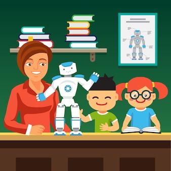 Студенты, изучающие робототехнику с учителем и роботом