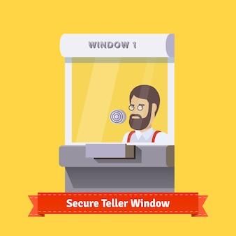 働く店員と現代の安全な窓口の窓