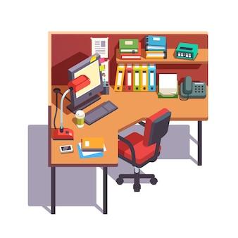 デスクトップコンピュータを備えたオフィスキュービクル作業デスク