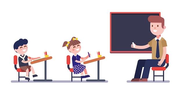 子供のグループと一緒に勉強している教師または教師