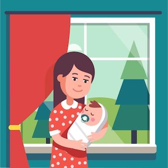 乳首を吸っている抱っこした赤ちゃんを抱く母親