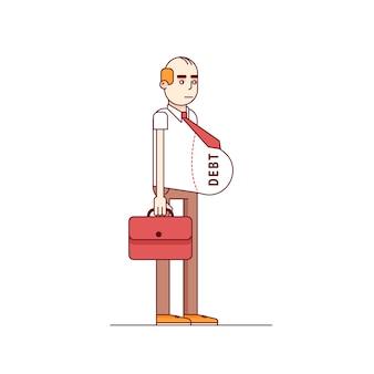 太った借金負担のかわいいビジネスマン