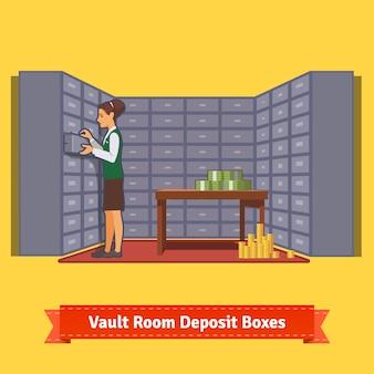 Комната банковского хранилища с клерком и депозитными ящиками