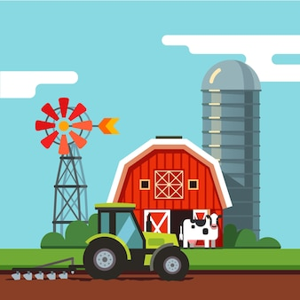 耕作場で働くトラクター