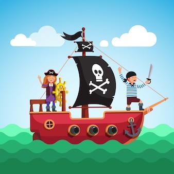 Детский пиратский корабль, плавающий в море с флагом
