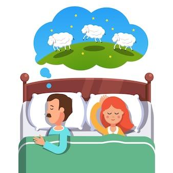 若い、恋人、ベッド、寝る
