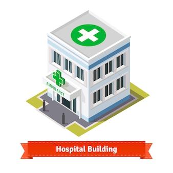 病院と救急車の建物